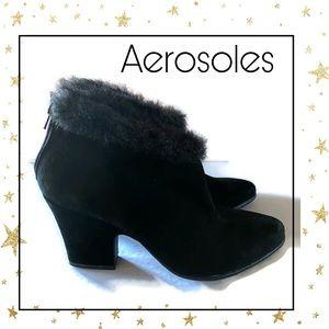 Aerosoles Black Suede Heeled Ankle Booties 12